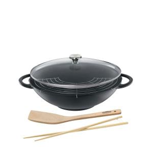 Küchenprofi Wok mit Glasdeckel 36cm Provence schwarz (4007371054034)