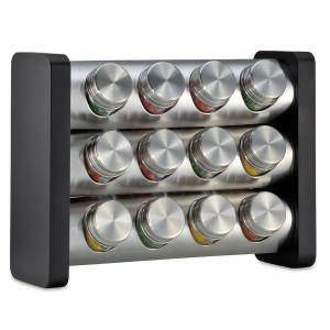 Küchenprofi Gewürzständer mit 12 Gläsern schwarz