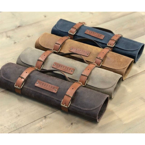 CRAFTED LEATHER & LIEFSTYLE Roll Messertasche grau Rustic Leather  ()