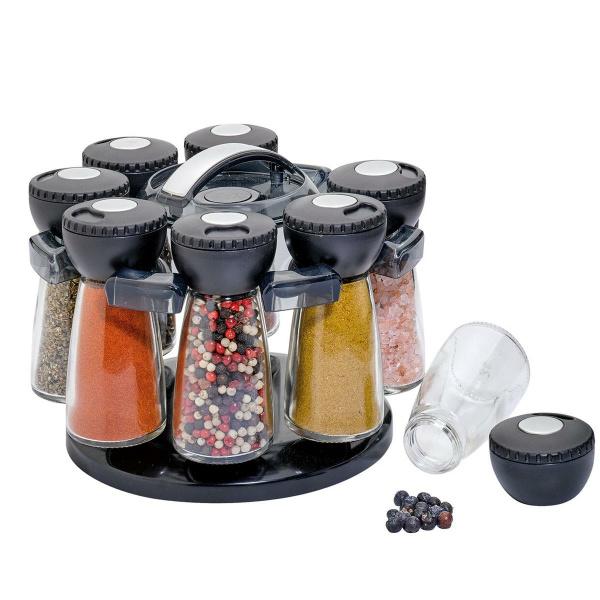 Küchenprofi Gewürzständer mit 8 Gläsern schwarz  (4007371067461)