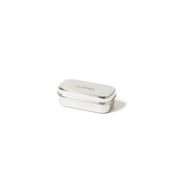 Eco Brotbox Snackbox XL rechteckiger Behälter aus Edelstahl 12x7x7